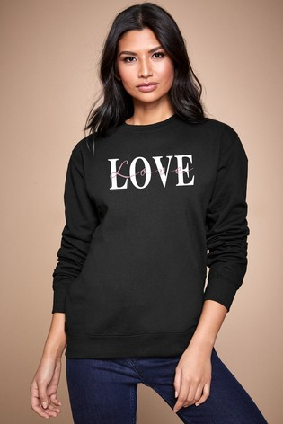 Personalised Lipsy Black Love Text Script Women's Sweatshirt by Instajunction