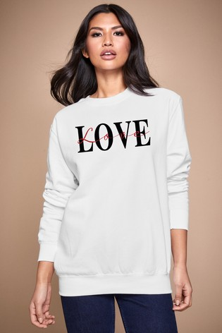 Personalised Lipsy White Love Text Script Women's Sweatshirt by Instajunction
