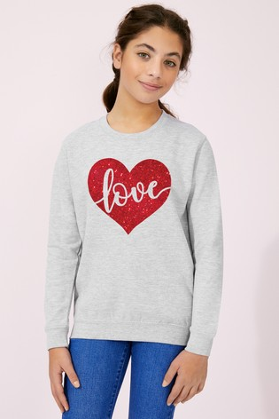 Personalised Lipsy Grey Love In Your Heart Kid's Sweatshirt by Instajunction