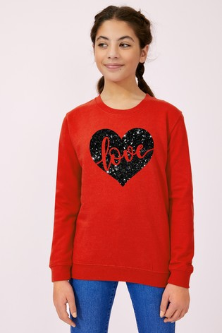 Personalised Lipsy Red Love In Your Heart Kid's Sweatshirt by Instajunction