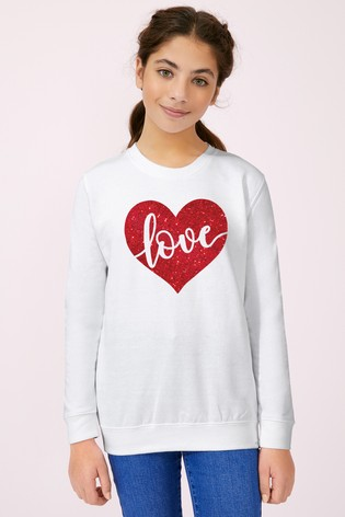 Personalised Lipsy White Love In Your Heart Kid's Sweatshirt by Instajunction