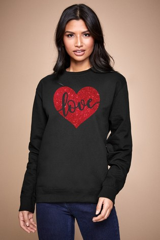 Personalised Lipsy Black Love In Your Heart Women's Sweatshirt by Instajunction