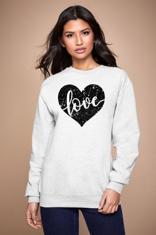 Personalised Lipsy Off White Love In Your Heart Women's Sweatshirt by Instajunction