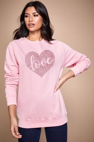 Personalised Lipsy Pink Love In Your Heart Women's Sweatshirt by Instajunction