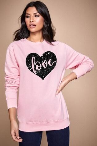 Personalised Lipsy Pink Love In Your Heart Women's Sweatshirt by Instajunction