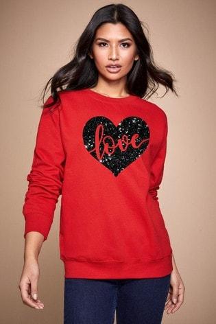 Personalised Lipsy Red Love In Your Heart Women's Sweatshirt by Instajunction