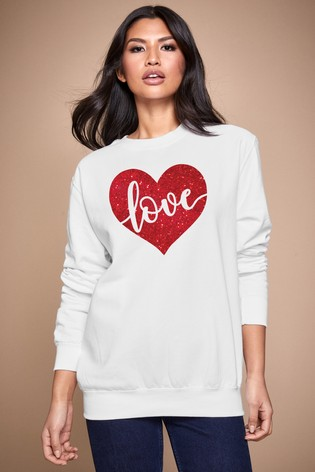 Personalised Lipsy White Love In Your Heart Women's Sweatshirt by Instajunction