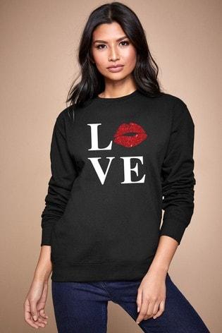 Personalised Lipsy Black Love Kiss Lips Women's Sweatshirt by Instajunction