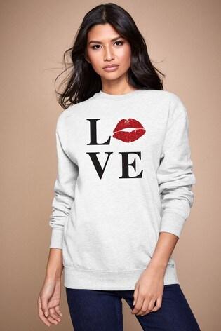 Personalised Lipsy Grey Love Kiss Lips Women's Sweatshirt by Instajunction
