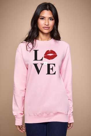 Personalised Lipsy Pink Love Kiss Lips Women's Sweatshirt by Instajunction