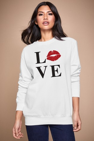 Personalised Lipsy White Love Kiss Lips Women's Sweatshirt by Instajunction