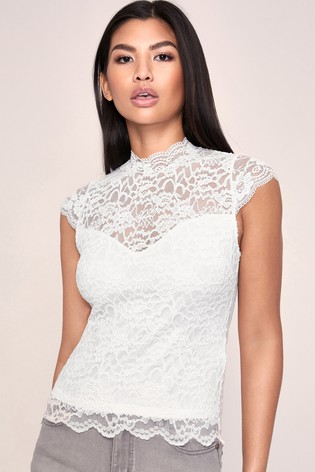 Lipsy White Lace High Neck Cap Sleeve Top