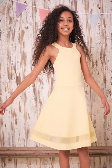 Lipsy Yellow Hi Neck Scallop Scuba Dress
