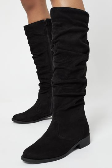 Lipsy Black Regular Fit Ruched Flat Knee Boot
