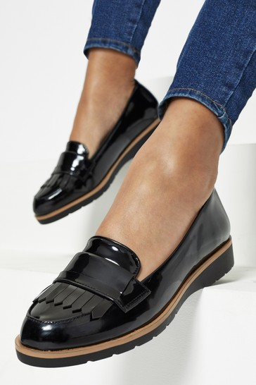 Lipsy Black Wide FIt Patent Loafer