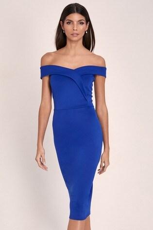 Lipsy Cobalt Scuba Bardot Midi Dress
