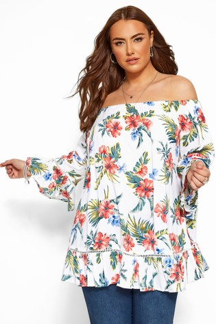 Yours White Curve Bardot Gypsy Print Top