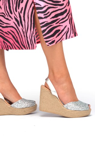 Palmaira Sandals Silver High Wedge Espadrille Sandals