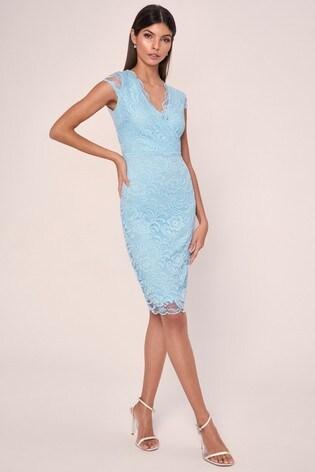 Lipsy Cadet Blue Short Sleeve Lace Bodycon Dress
