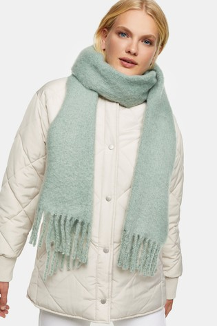 Topshop Green Brushed Scarf