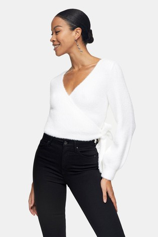 Topshop Fluffy Ballet Wrap Knitted Blouse