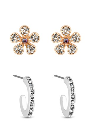 Lipsy Two Tone Plated Pink Flower Stud And Hoop - Pack Of 2 Earring