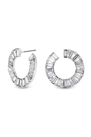 Lipsy Silver Plated Crystal Baguette Front To Back Hoop Earring