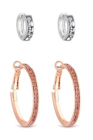 Lipsy Two Tone Crystal Baguette Hoop Earrings – Pack Of 2
