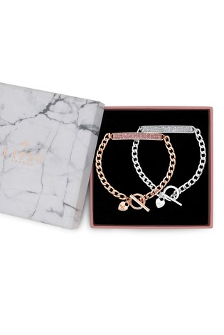 Lipsy Jewellery Silver Plated Two Tone Crystal Bar Toggle Bracelet – Pack of 2 Gift Box