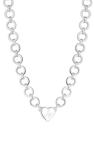 Lipsy Silver Plated Crystal Heart Charm Chain Short Necklace