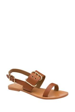 Ravel Leather Flat Sandals