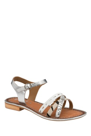 Ravel Silver Leather Flat Sandals