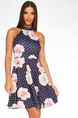 Quiz Polka Dot And Floral Halterneck Skater Dress
