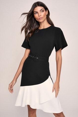 Lipsy Black Flutter Sleeve Belted Midi Dress
