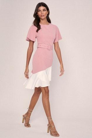 Lipsy Pink Flutter Sleeve Belted Midi Dress
