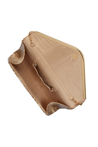 Lotus Footwear Neutral Snake Print Clutch Bag