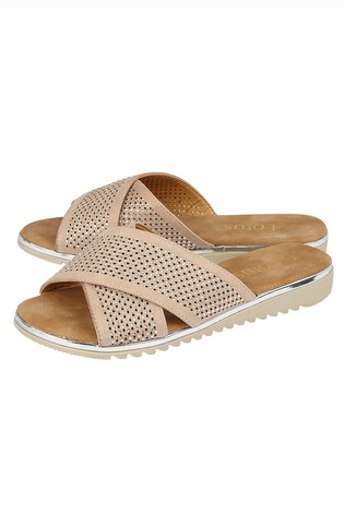 Lotus Footwear Nude Diamante Flat Mule Sandals