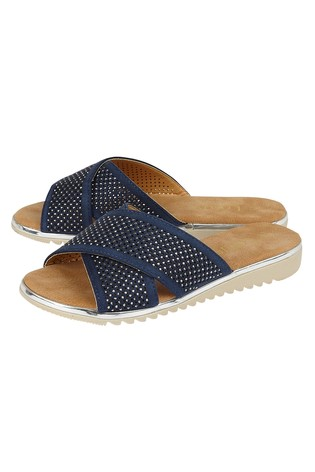 Lotus Footwear Navy Diamante Flat Mule Sandals