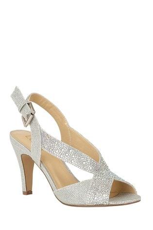 Lotus Footwear Silver Diamante Sling Back Shoes