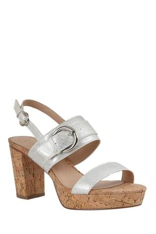 Lotus Footwear Silver Sling Back Sandals