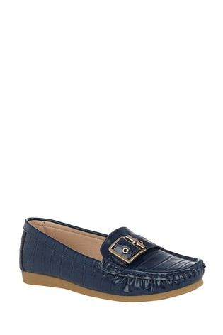 Lotus Navy Slip-On Loafers