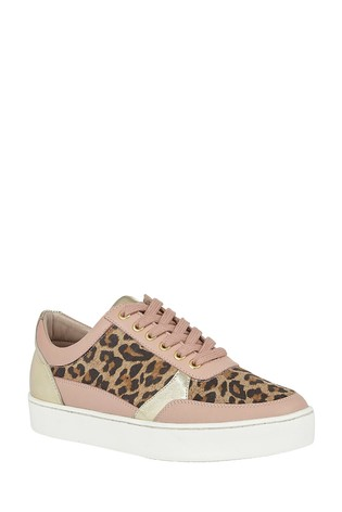 Lotus Leopard-Print Leather Lace-Up Trainers
