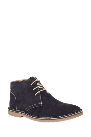 Lotus Navy Suede Lace Up Desert Boots