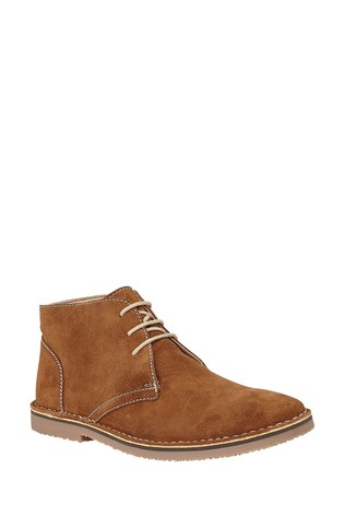 Lotus Brown Suede Lace Up Desert Boots