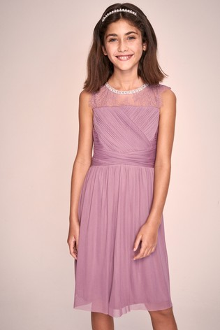 Lipsy Girl Blush Embellished Lace Pleated Occasion Dress