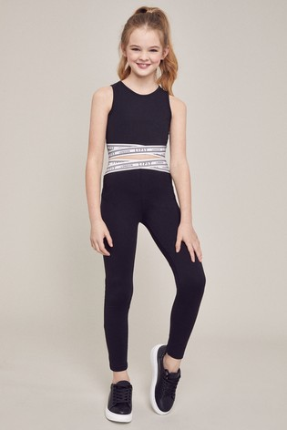 Lipsy Girl Black Crop Top And Legging Set