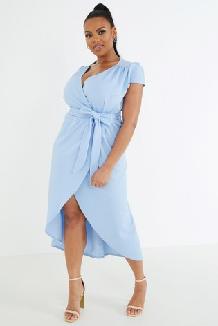 Quiz Curve Cap Sleeve Wrap Midi Dress