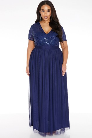 Quiz Blue Curve Sequin Embellished Maxi Dress