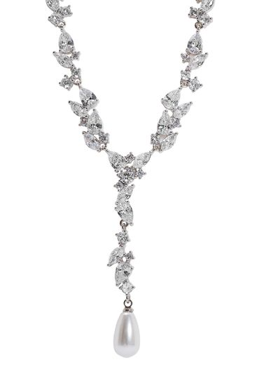 Jon Richard Silver Plated Pearl & Cubic Zirconia Leah Classic Y Drop Necklace