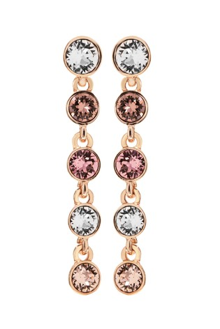 Jon Richard Rose Gold Plated Tennis Embellished With Swarovski Crystals Earrings
